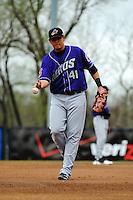 Akron Aeros infielder Giovanny Urshela (41) during game against the Trenton Thunder at ARM & HAMMER Park on April 17, 2013 in Trenton, New Jersey.  Akron defeated Trenton 10-6.  Tomasso DeRosa/Four Seam Images