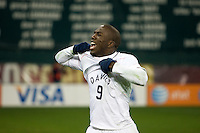 Jozy Altidore celebrates a goal by Jonathan Bornstein to tie Costa Rica 2-2 to put the USA in first place of CONCACAF 2010 World Cup qualifying, at RFK Stadium, in Washington DC, Wednesday, October 14, 2009.
