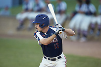Greg Hardison (12) (UNCG) of the High Point-Thomasville HiToms at bat against the Deep River Muddogs at Finch Field on June 27, 2020 in Thomasville, NC.  The HiToms defeated the Muddogs 11-2. (Brian Westerholt/Four Seam Images)