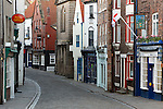 Great Britain, England, North Yorkshire, Whitby: View along cobbled Church Street