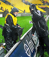 Photographer Peter Bush talks to Hurricanes media manager Toby Robson after the Super Rugby quarterfinal match between the Hurricanes and Sharks at Westpac Stadium, Wellington, New Zealand on Saturday, 23 July 2016. Photo: Dave Lintott / lintottphoto.co.nz