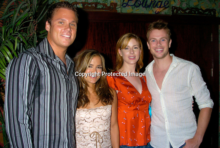 Rebecca Budig and husband Bob Guiney, and Diane Neal and fiance Marcus FitzGerald ..at the benefit for Sidewalk Angels Foundation on August 3, 2004 at The China Club. ..Photo by Robin Platzer, Twin Images..