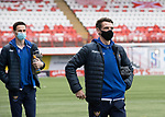 Hamilton Accies v St Johnstone …03.03.21   Fountain of Youth Stadium   SPFL<br />Craig Bryson and Scott Tanser arrive at the Fountain of Youth Stadium<br />Picture by Graeme Hart.<br />Copyright Perthshire Picture Agency<br />Tel: 01738 623350  Mobile: 07990 594431