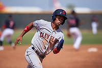 AZL Indians Red Yordys Valdes (10) rounds third base during an Arizona League game against the AZL Indians Blue on July 7, 2019 at the Cleveland Indians Spring Training Complex in Goodyear, Arizona. The AZL Indians Blue defeated the AZL Indians Red 5-4. (Zachary Lucy/Four Seam Images)