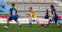 13th September 2020; AJ Bell Stadium, Salford, Lancashire, England; English Premiership Rugby, Sale Sharks versus Bath;  Rhys Priestland of Bath Rugby passes the ball