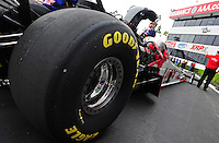 Nov. 10, 2011; Pomona, CA, USA; Detailed view of the rear Goodyear tire on the car of NHRA top fuel dragster driver Shawn Langdon during qualifying at the Auto Club Finals at Auto Club Raceway at Pomona. Mandatory Credit: Mark J. Rebilas-.