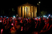 A general view with the Temple of Hercules Victor during the closing of the election campaign for the new mayor of the city.<br /> Rome (Italy), October 1st 2021<br /> Photo Samantha Zucchi Insidefoto