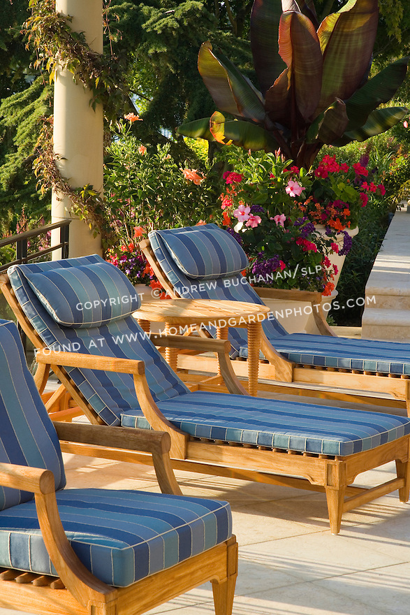 exotic teak deck chairs are lined up in late afternoon summer sunshine on a waterfront patio, backed by a colorful container of tropicals and mixed annuals.  Design by Sander Groves Landscapes, Inc., and Linda Attaway Landscape Architect.