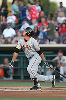 Hunter Cole (2) of the San Jose Giants bats during a game against the Inland Empire 66ers at San Manuel Stadium on May 30, 2015 in San Bernardino, California. Inland Empire defeated San Jose, 6-4. (Larry Goren/Four Seam Images)