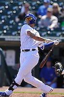 Iowa Cubs Javy Baez (4) swings during the game against the  New Orleans Zephyrs at Principal Park on April 13, 2016 in Des Moines, Iowa.  The Cubs won 9-5 .  (Dennis Hubbard/Four Seam Images)