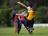 Action from the Joy Lamason Trophy women's cricket match between Wellington Collegians and Petone-Riverside at Adventure Park in Wellington, New Zealand on Saturday, 9 January 2021. Photo: Dave Lintott / lintottphoto.co.nz