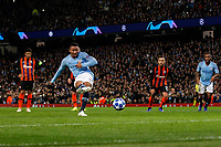 Gabriel Jesus of Manchester City scores his side's second goal to make the score 2-0 from the penalty spot during the UEFA Champions League Group F match between Manchester City and Shakhtar Donetsk at the Etihad Stadium on November 7th 2018 in Manchester, England. (Photo by Daniel Chesterton/phcimages.com)<br /> Foto PHC/Insidefoto <br /> ITALY ONLY