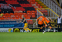 2nd October 2020; Tannadice Park, Dundee, Scotland; Scottish Premiership Football, Dundee United versus Livingston; Nicky Clark of Dundee United scores from a free kick to put his side 1-0 ahead in the 18th minute