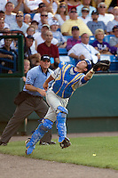 UCLA catcher Steve Rodriguez in Game 11 of the NCAA Division One Men's College World Series on June 25th, 2010 at Johnny Rosenblatt Stadium in Omaha, Nebraska.  (Photo by Andrew Woolley / Four Seam Images)