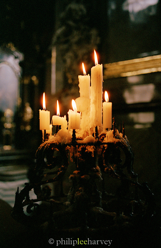 Candles in a church in Prague, Czech Republic