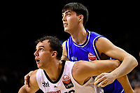Ben Constable of the Canterbury Rams and Kael Robinson of the Wellington Saints during the round one NBL match between the Wellington Saints and the Canterbury Rams at TSB Bank Arena, Wellington, New Zealand on Friday 30 April 2021.<br /> Photo by Masanori Udagawa. <br /> www.photowellington.photoshelter.com