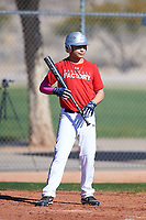 Marco Benavidez Jr (50), from Meridian, Idaho, while playing for the Cardinals during the Under Armour Baseball Factory Recruiting Classic at Red Mountain Baseball Complex on December 29, 2017 in Mesa, Arizona. (Zachary Lucy/Four Seam Images)