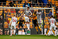 23rd May 2021; Molineux Stadium, Wolverhampton, West Midlands, England; English Premier League Football, Wolverhampton Wanderers versus Manchester United; Nemanja Matic of Manchester United heads the ball out of defence to clear the box