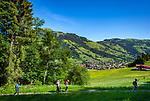 Austria, Tyrol, Westendorf (Tyrol): Hiking Village at Brixen Valley and Hohe Salve mountain, hikers | Oesterreich, Tirol, Westendorf (Tirol): Wanderdorf im Brixental und Gipfel Hohe Salve, Wanderer unterwegs auf dem Wohlfuehlpfad