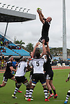Hayden Triggs catches. Maori All Blacks vs. Fiji. Suva. MAB's won 27-26. July 11, 2015. Photo: Marc Weakley