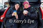 Enjoying a cuppa after their swim in Fenit on Saturday, l to r: Darragh Stephenson and Amanda Bentley Curran.