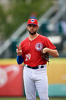 Buffalo Bisons pitcher Mike Bolsinger (29) in the bullpen during a game against the Indianapolis Indians on August 17, 2017 at Coca-Cola Field in Buffalo, New York.  Buffalo defeated Indianapolis 4-1.  (Mike Janes/Four Seam Images)