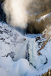 Frozen Lower Falls of the Grand Canyon of the Yellowstone River. Yellowstone National Park, Wyoming, USA. January
