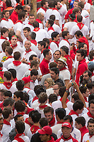 Espagne, Navarre, Pampelune: Fêtes de San Fermín, Lors de l'encierro  //  Spain, Navarre, Pamplona:  Festival of San Fermín, During the encierro ,   running of the bulls