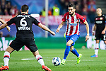 Yannick Ferreira Carrasco (r) of Atletico de Madrid is challenged by Aleksandar Dragovic of Bayer 04 Leverkusen during their 2016-17 UEFA Champions League Round of 16 second leg match between Atletico de Madrid and Bayer 04 Leverkusen at the Estadio Vicente Calderon on 15 March 2017 in Madrid, Spain. Photo by Diego Gonzalez Souto / Power Sport Images