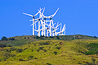 Wind generators crowd the top of this hill on the south shore of Maui picking up the ever-present ocean breeze.