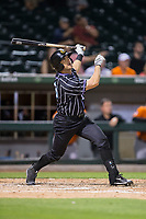 Ryan Raburn (16) of the Charlotte Knights follows through on his swing against the Norfolk Tides at BB&T BallPark on May 2, 2017 in Charlotte, North Carolina.  The Knights defeated the Tides 8-3.  (Brian Westerholt/Four Seam Images)