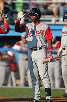 Lowell Spinners outfielder Brandon Jacobs (24) during a game vs. the Batavia Muckdogs at Dwyer Stadium in Batavia, New York July 16, 2010.   Batavia defeated Lowell 5-4 with a walk off RBI single.  Photo By Mike Janes/Four Seam Images
