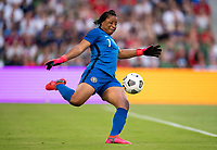 AUSTIN, TX - JUNE 16: Tochukwu Oluehi #1 Nigeria punts the ball during a game between Nigeria and USWNT at Q2 Stadium on June 16, 2021 in Austin, Texas.
