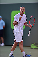 KEY BISCAYNE, FL - MARCH 30: Novak Djokovic of Serbia defeats Steve Darcis of Belgium during day 8 of the Miami Open at Crandon Park Tennis Center on March 30, 2015 in Key Biscayne, Florida.<br /> <br /> <br /> People:  Steve Darcis<br /> <br /> Transmission Ref:  FLXX<br /> <br /> Must call if interested<br /> Michael Storms<br /> Storms Media Group Inc.<br /> 305-632-3400 - Cell<br /> 305-513-5783 - Fax<br /> MikeStorm@aol.com