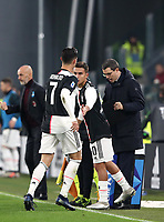 Calcio, Serie A: Juventus - Milan, Turin, Allianz Stadium, November 10, 2019.<br /> Juventus' Cristiano Ronaldo (l) leaves the pitch after being substituted by Juventus' Paulo Dybala (r) during the Italian Serie A football match between Juventus and Milan at the Allianz stadium in Turin, November 10, 2019.<br /> UPDATE IMAGES PRESS/Isabella Bonotto