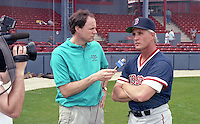 Boston Red Sox coach Butch Hobson gives an interview during spring training circa 1992 at Chain of Lakes Park in Winter Haven, Florida.  (MJA/Four Seam Images)