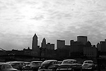 Pittsburgh PA:  View of the Pittsburgh Skyline at dusk from a North Side parking lot.