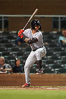 Glendale Desert Dogs Jonathan India (23), of the Cincinnati Reds organization, at bat during an Arizona Fall League game against the Scottsdale Scorpions on September 20, 2019 at Salt River Fields at Talking Stick in Scottsdale, Arizona. Scottsdale defeated Glendale 3-2. (Zachary Lucy/Four Seam Images)