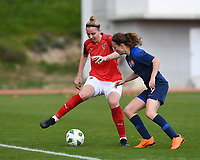 20190304 - LARNACA , CYPRUS : Austrian Katharina Schiechtl pictured in a duel with Slovakian Lenka Kopcova during a women's soccer game between Slovakia and Austria , on Monday 4 th March 2019 at the GSZ Stadium in Larnaca , Cyprus . This is the third and last game in group C for both teams during the Cyprus Womens Cup 2019 , a prestigious women soccer tournament as a preparation on the Uefa Women's Euro 2021 qualification duels. PHOTO SPORTPIX.BE | DAVID CATRY