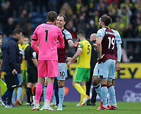 2nd October 2021;  Turf Moor, Burnley, Lancashire, England; Premier League football, Burnley versus Norwich City: Norwich City goalkeeper Tim Krul speaks with Ashley Barnes of Burnley after the match ends goalless
