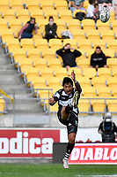 Lincoln McClutchie of Hawkes Bay clears the ball during the Bunnings NPC - Wellington v Hawke's Bay at Sky Stadium, Wellington, New Zealand on Sunday 26 September 2021.<br /> Photo by Masanori Udagawa. <br /> www.photowellington.photoshelter.com