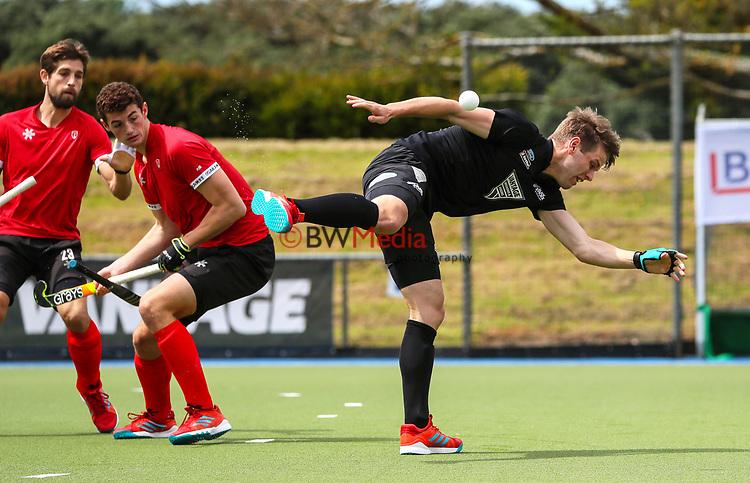 Harry Miskimmin gets hit by the ball. International Hockey, Blacksticks men v Canada. Lloyd Elsmore Park, Auckland, New Zealand. Saturday 20 October 2018. Photo: Simon Watts/Hockey NZ