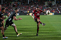 Bryn Hall kicks the ball out to end the 2021 Super Rugby Aotearoa final between the Crusaders and Chiefs at Orangetheory Stadium in Christchurch, New Zealand on Saturday, 8 May 2021. Photo: Joe Johnson / lintottphoto.co.nz