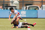 Hsin–Hung Chiang (l) of Chinese Taipei fights for the ball during the match between Sri Lanka and Chinese Taipei of the Asia Rugby U20 Sevens Series 2016 on 12 August 2016 at the King's Park, in Hong Kong, China. Photo by Marcio Machado / Power Sport Images