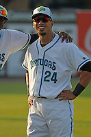 Daytona Tortugas outfielder Sebastian Elizalde (24) before a game against the Clearwater Threshers at the Jackie Robinson Ballpark on May 9, 2015 in Daytona, Florida. Clearwater defeated Daytona 7-0. (Robert Gurganus/Four Seam Images)