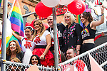 © Joel Goodman - 07973 332324 . 26/08/2017. Manchester , UK. Coronation Street float at the 2017 Pride parade through Manchester City Centre . The annual festival , which is the largest of its type in Europe , celebrates LGBT life . Photo credit : Joel Goodman