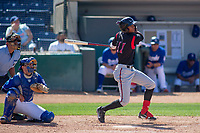 Lake Elsinore Storm Edward Olivares (11) follows through on his swing against the Rancho Cucamonga Quakes at LoanMart Field on May 28, 2018 in Rancho Cucamonga, California. The Storm defeated the Quakes 8-5.  (Donn Parris/Four Seam Images)