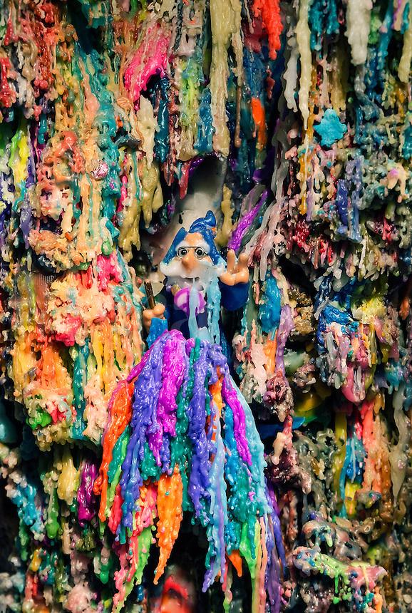 Peace wizard set in an elaborate wax dripping sculpture.