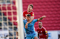 12th September 2020; Ashton Gate Stadium, Bristol, England; English Football League Championship Football, Bristol City versus Coventry City; Chris Martin of Bristol City climbs above and on the shoulders of Dominic Hyam of Coventry City