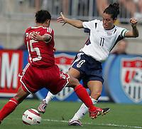 Ren Liping, left, Julie Foudy, right, , USA vs China, 2004.